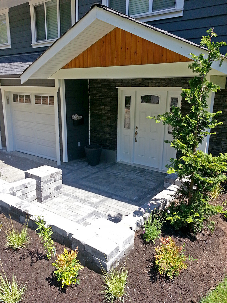 Contemporary Landscapers Build Modern Entry Patio & Low Maintenance Garden in Brookswood, Langley, BC